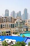 Swimming pool in Dubai downtown. UAE Stock Photography