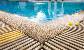 Swimming pool. Edge of swimming pool in clubhouse with flower Royalty Free Stock Images
