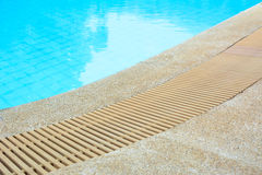 Swimming pool edge with drain Royalty Free Stock Photography