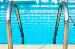 Swimming pool enter. Blue swimming pool enter Stock Image