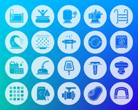 Pool equipment shape carved flat icons vector set stock illustration
