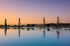 Swimming pool in the evening Royalty Free Stock Image