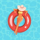 Swimming pool female girl broad-brim hat swim ring flat design vector illustration Royalty Free Illustration