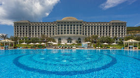 Swimming pool of five star Vinpearl resort view at Nha Trang, Vietnam Royalty Free Stock Photo