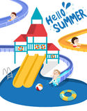 Swimming pool. Flat vector illustration of kids going down the slide in the swimming pool with playground Royalty Free Stock Photography