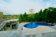 Swimming Pool, Formal Garden, Hotel, Luxury Hotel, Built Structure stock image