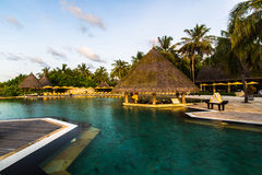 Swimming pool at Four Seasons Resort Maldives at Kuda Huraa Royalty Free Stock Photos