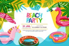 Swimming pool frame with flamingo and unicorn float kids toys. Beach party vector summer poster, banner design template. Swimming pool frame with flamingo and vector illustration