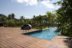 Swimming pool, fresh and cool world. Luxury swimming pool of tropical resorts Stock Photos