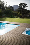 Swimming pool in the front yard of house. On a sunny day Royalty Free Stock Image