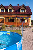 Swimming pool in garden stock images