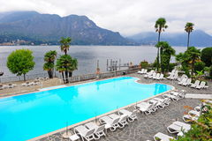 Swimming pool of a grand hotel beside Lake Como Royalty Free Stock Photo