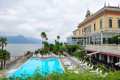 Swimming pool of a grand hotel beside Lake Como in Bellagio. Italy stock photo