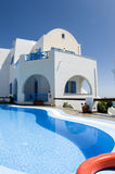 Swimming pool greek cyclades architecture Royalty Free Stock Image