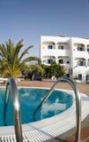 Swimming pool greek island. Santorini greek islands hotel swimming pool  classic greek island cyclades architecture Royalty Free Stock Photography
