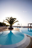 Swimming pool greek islands santorini Stock Photo