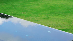 Swimming pool in green grass garden Royalty Free Stock Photos