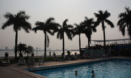 Swimming Pool in Hanoi overlooking West Lake stock photography