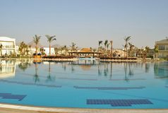Swimming pool of Hilton Sharks Bay Hotel. The swimming pool in hotel of Egypt, landscaping, rest in the resort of the Red Sea in Sharm el-Sheikh, vacation Stock Photography