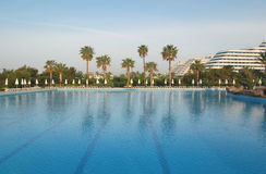 Swimming pool at hotel in Antalya, Turkey. Swimming pool at popular hotel in Antalya, Turkey Stock Photo