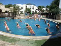Swimming pool in hotel Club Olea Bodrum Turkey Royalty Free Stock Image