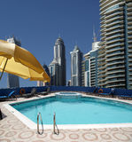 The swimming pool on the hotel roof Royalty Free Stock Images
