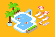 Swimming Pool Hotel Summer Vacation 3d Isometric Design Royalty Free Stock Image