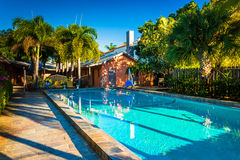 Swimming pool at a hotel in West Palm Beach, Florida. stock photography