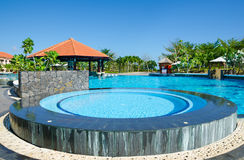 Swimming pool near hotel Royalty Free Stock Image