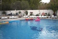 Swimming pool in Ibiza stock photo