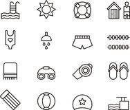 Swimming pool icons. Set of black outline icons on white background relating to swimming pools Royalty Free Stock Photography