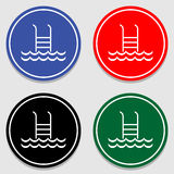 Swimming Pool icons set great for any use. Vector EPS10. Stock Images