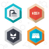 Swimming pool icons. Shower and swimwear signs Royalty Free Stock Photo