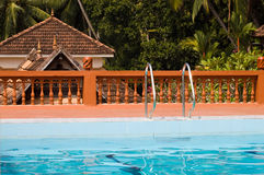 Swimming pool in indian holiday resort Stock Photography