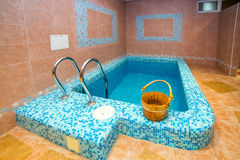 Swimming pool indoor. Comfortable relax spa interior Royalty Free Stock Photography