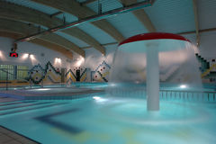 Swimming pool indoor, empty. Stock Photos