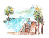 Swimming pool infinity edge water colour illustration Stock Images