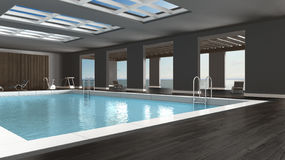 Swimming pool interior design, indoors with big panoramic window. S and sea landscape Stock Photo
