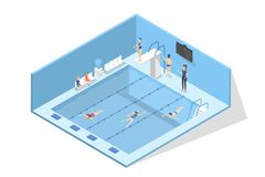 Swimming pool interior in school. Child learning to swim. In swimsuit. Active exercise for health. Isolated vector isometric illustration stock illustration