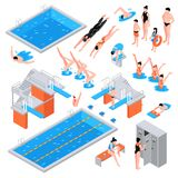 Swimming Pool Isometric Elements. Isometric swimming pool set of isolated pool elements icons of equipment plungers and swimmers human characters vector stock illustration