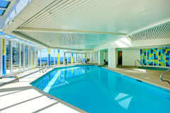 Swimming pool with jacuzi in residential building Stock Images