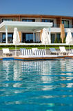 Swimming pool with jacuzzi by beach at the modern luxury hotel. Pieria, Greece Stock Images