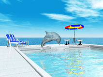 Swimming pool and jumping dolphin. Computer generated 3D illustration with a swimming pool and a jumping dolphin Stock Images