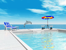 Swimming pool and jumping dolphin. Computer generated 3D illustration with a swimming pool and a jumping dolphin Royalty Free Stock Photos