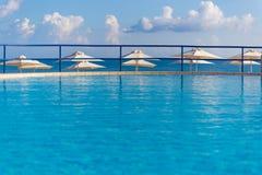 Swimming pool in Kato Stalos beach, Chania prefecture, Western Crete, Greece Royalty Free Stock Image