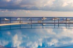 Swimming pool in Kato Stalos beach, Chania prefecture, Western Crete, Greece Stock Images