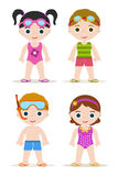 Swimming pool kids. Set of four swimming pool kids Stock Photography