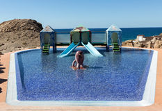 Swimming pool in La Pared on Feurteventura, Royalty Free Stock Photos