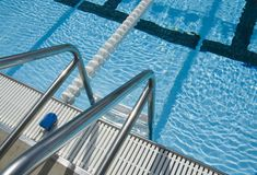 Swimming pool ladder stock images