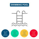 Swimming pool with ladder line icon. Stock Photography